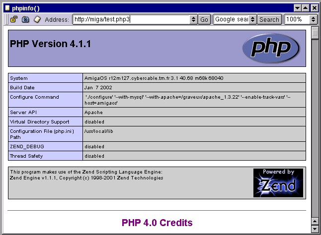 La page d'example PHP...